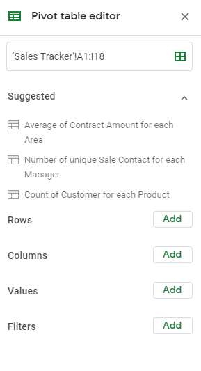 suggested pivot tables google sheets
